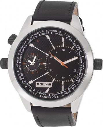 3 Guys Time Black Leather Strap 3G 14529