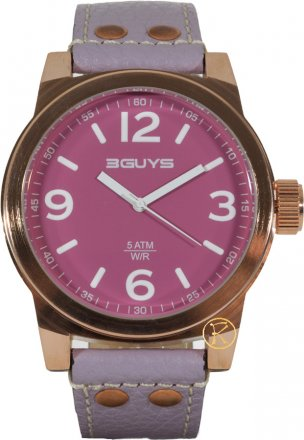 3Guys Rose Gold Purple Leather Strap 3G13919
