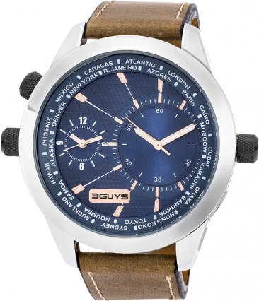 3Guys Time Brown Leather Strap 3G14561