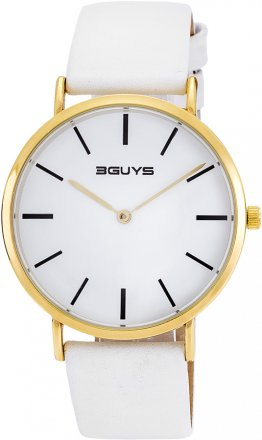 3Guys Time White Leather Strap 3G73023