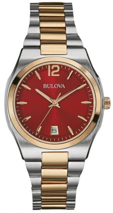 Bulova Red Dial Two Tone Stainless Steel Women's Dress Watch 98M119