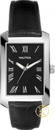 Nautica Steel Gents Black Dial Black Leather Strap Watch A08595