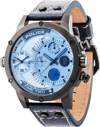 Police Adder Dark Blue Leather Strap PL14536JSU-03A