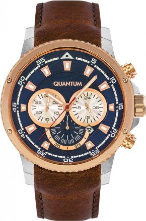 QUANTUM Men's Chrono Rose Gold Blue Leather Strap ADG449.592