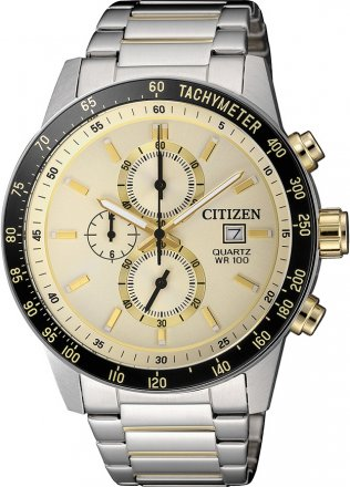 CITIZEN Urban Chronograph Two Tone Gold Stainless Steel Bracelet AN3604-58A