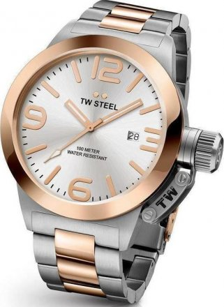 TW STEEL Canteen Silver case with Stainless Steel Bracelet CB122