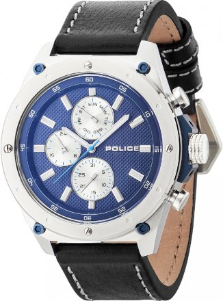 Police Contact Black Leather Strap 14537JS-03A