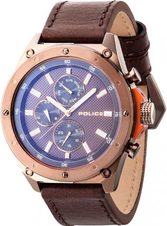 Police Contact Brown Leather Strap PL14537JSBN-12A
