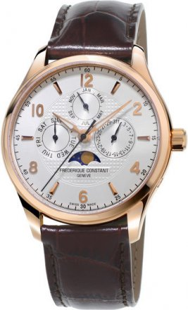 Frederique Constant Runabout Silver Dial Brown Leather Automatic Men's Watch Item FC-365RM5B4