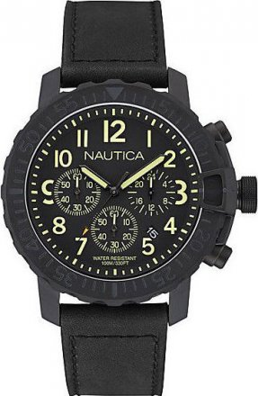 Nautica Black Leather Strap NAI21006G