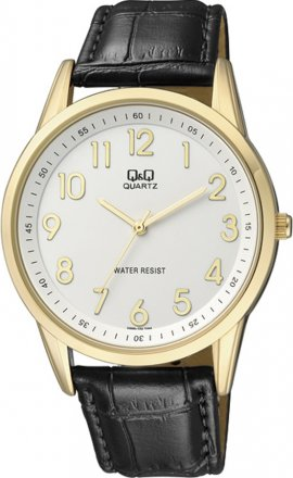 Q&Q Gold Black Leather Strap Q886-104