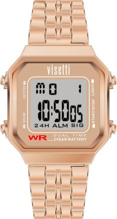 VISETTI Retro V Digital Rose Gold Stainless Steel Bracelet RI-007RG