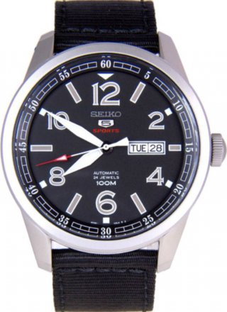 Seiko 5 Sport Automatic with Hand Winding and Black Dial Canvas Band SRP625K1