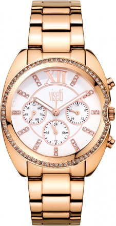 VISETTI Finesse Calendar Crystals Rose Gold Stainless Steel Bracelet AM975-RW