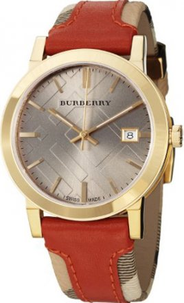 Burberry Large Check Leather on Canvas Strap Watch BU9016