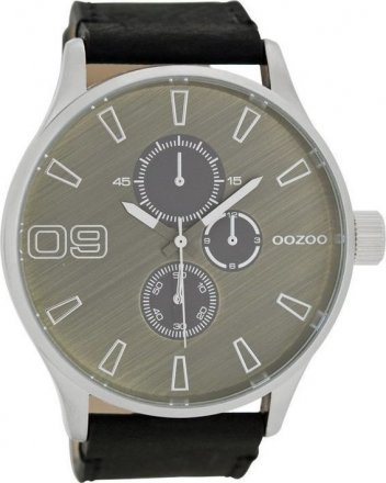 OOZOO XXL Timepieces Black Leather Strap C7248