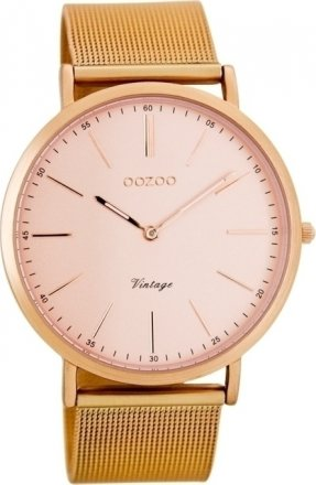 OOZOO Timepieces Vintage Rose Gold Metal Strap C7391