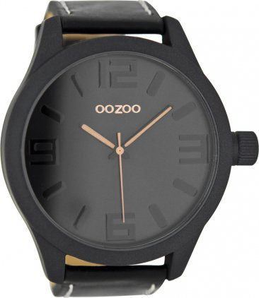OOZOO Timepieces XXL Black Leather Strap C7883