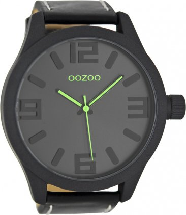 Oozoo Τimepieces XXL Black Leather Strap C7884