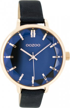 OOZOO Timepieces Rose Gold Blue Leather Strap C7918