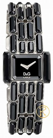 D&G Aristocratic Ladies Black Crystals Watch DW0472
