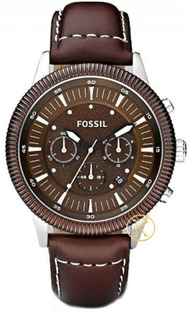 FOSSIL mens chronograph brown with brown leather strap FS4591