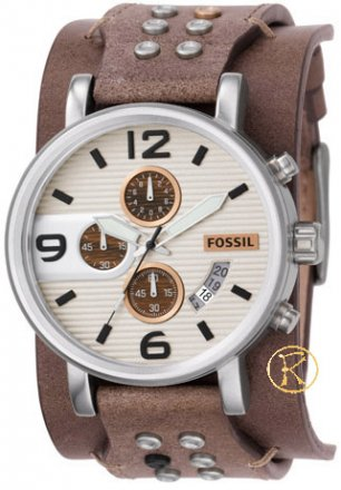 FOSSIL mens chronograph beige with brown leather strap JR1149