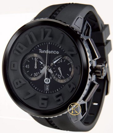 TENDENCE Round Gulliver Chronograph Black Rubber Strap 02036010AA
