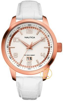 Nautica Women RoseGold and White Leather Strap A15025G