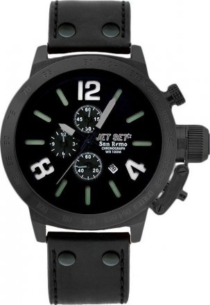 JetSet San Remo Black Leather Chronograph J1242B-267