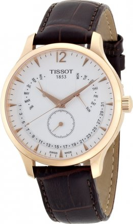 Tissot Τ-Classic Tradition Brown Leather Strap T063.637.36.037.00