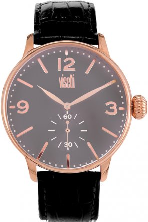 Visetti Rose Gold Black Leather Strap TB-624RB