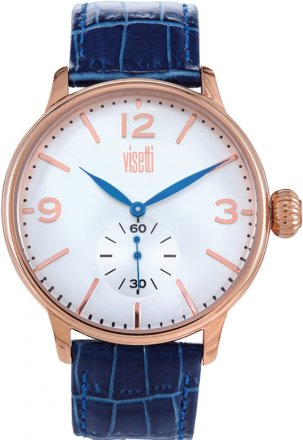 Visetti Rose Gold Blue Leather Strap TB-624RC