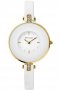 PIERRE LANNIER Ladies Crystals Gold White Leather Strap 123J500